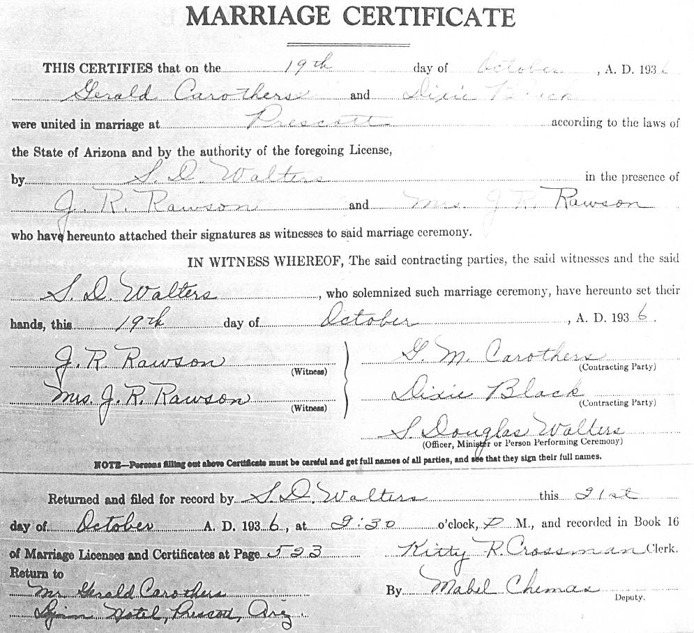 Carothers genealogy information from prescott az visit copy of their marriage license and marriage certificate aiddatafo Choice Image